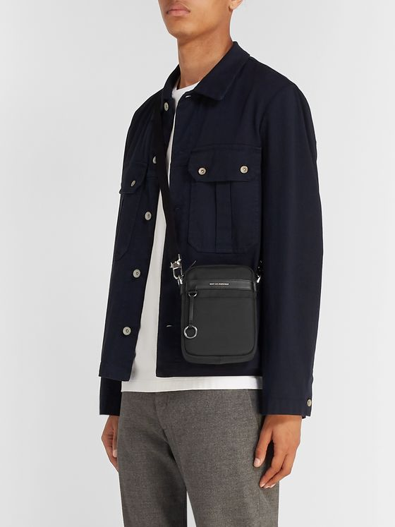 WANT LES ESSENTIELS Reagan Leather-Trimmed Nylon Messenger Bag