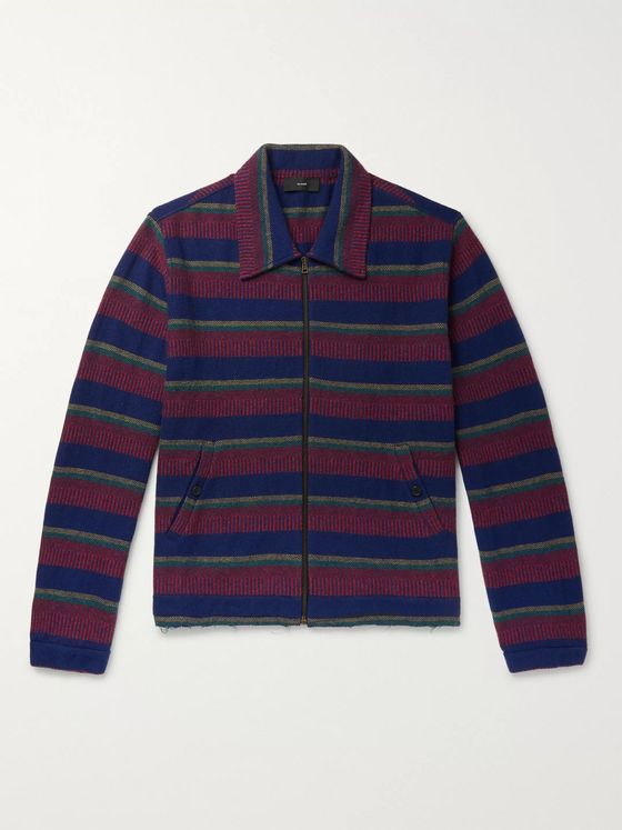 Alanui Striped Knitted Cashmere and Cotton-Blend Jacket