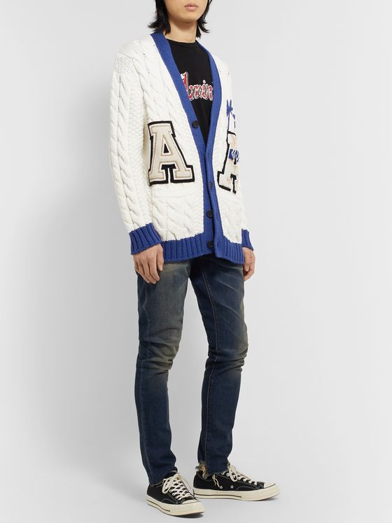 Alanui Logo-Appliquéd Cable-Knit Cotton-Blend Cardigan