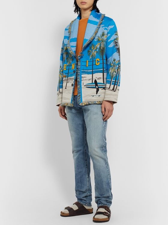 Alanui Venice Beach Fringed Wool, Cashmere and Silk-Blend Jacquard Cardigan