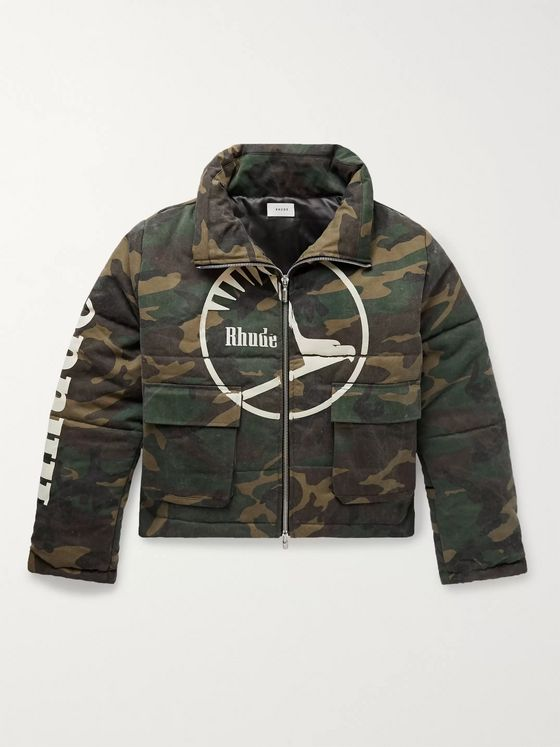Rhude Logo-Print Padded Camouflage-Print Cotton-Blend Twill Jacket