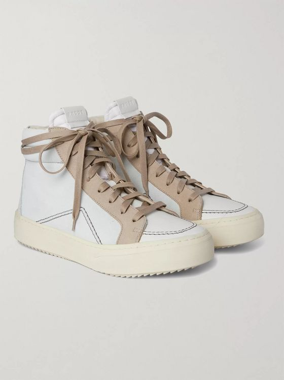 Rhude V1 Suede and Leather High-Top Sneakers