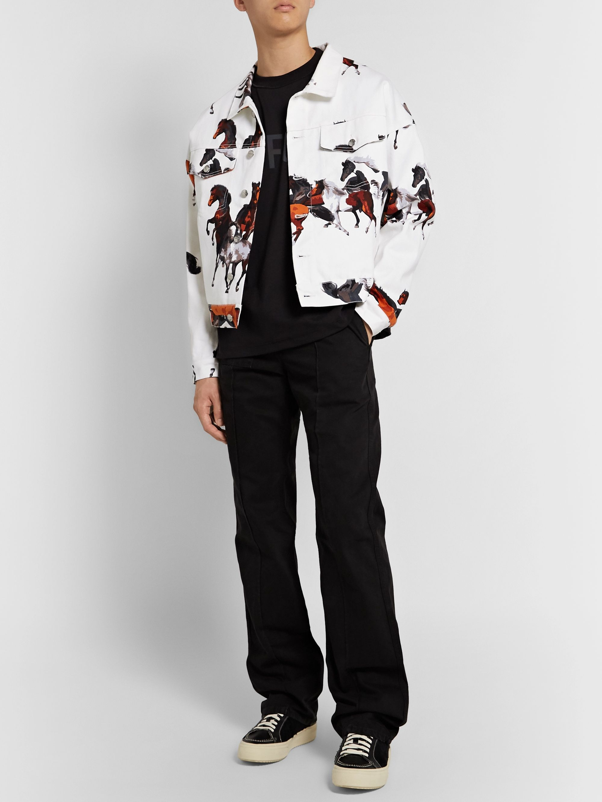 Rhude Printed Denim Trucker Jacket