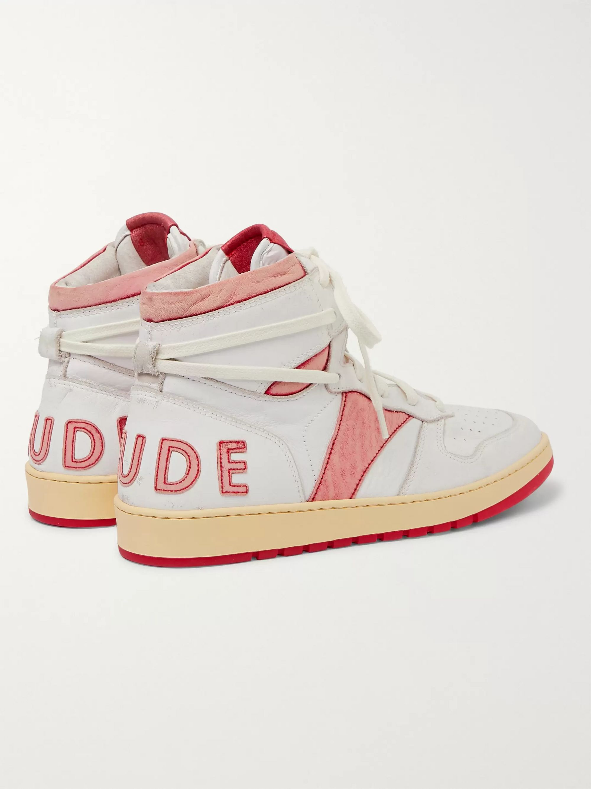 Red Rhecess Distressed Leather High-top Sneakers | Rhude