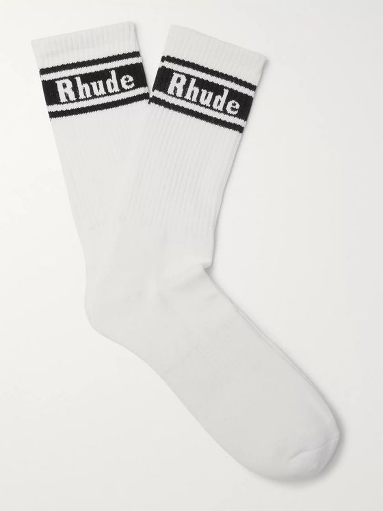 Rhude Logo-Intarsia Cotton-Blend Socks