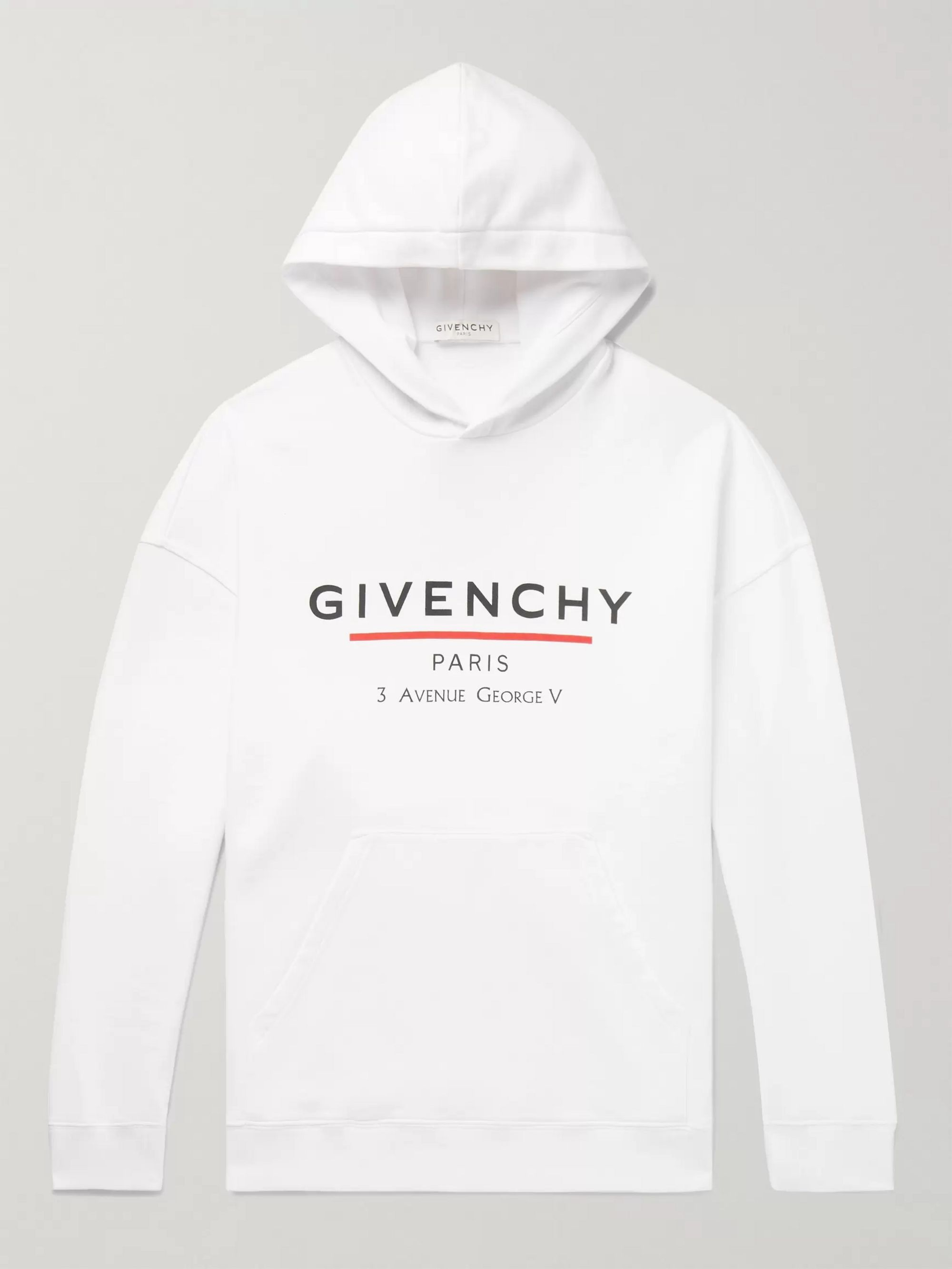 지방시 Givenchy White Logo-Print Loopback Cotton-Jersey Hoodie,White