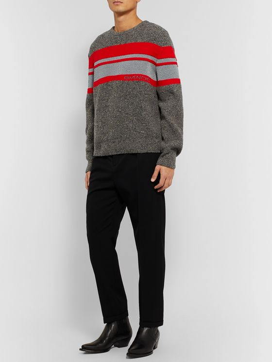 Givenchy Striped Logo-Intarsia Reflective Wool Sweater