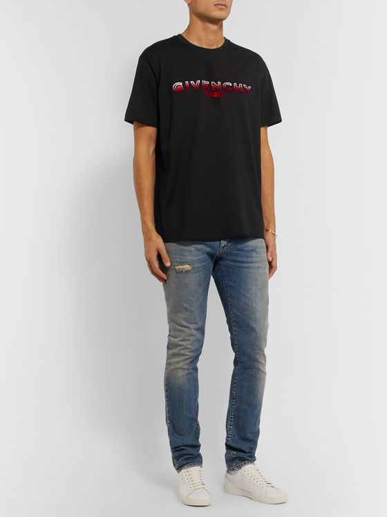 Givenchy Slim-Fit Logo-Flocked Cotton-Jersey T-Shirt