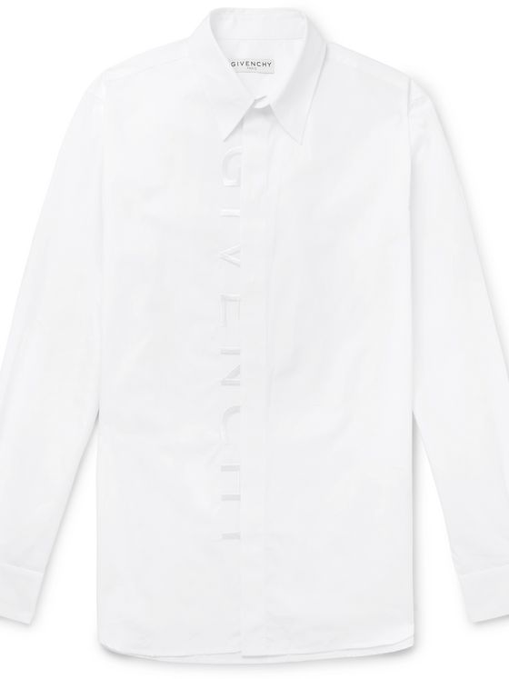 Givenchy Slim-Fit Logo-Embroidered Printed Cotton Shirt