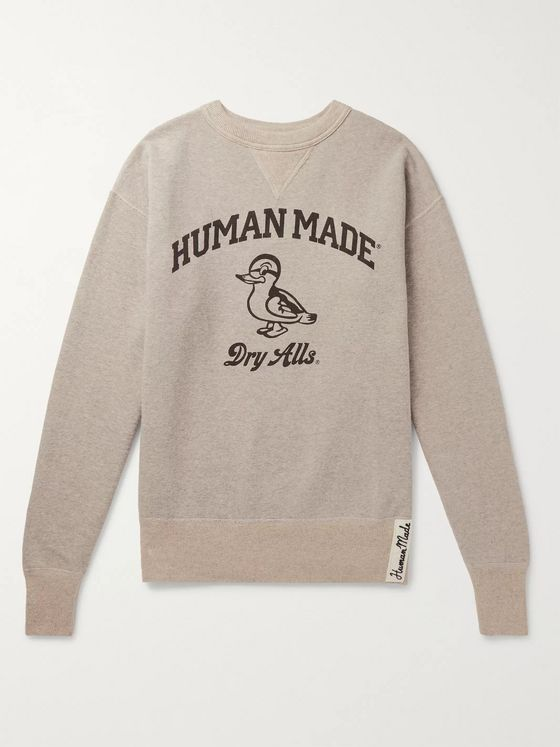 Human Made Logo-Print Mélange Fleece-Back Cotton-Jersey Sweatshirt