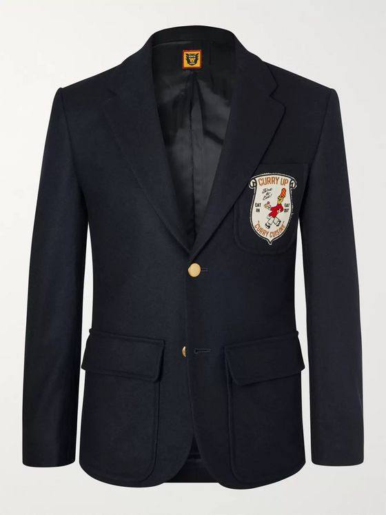 Human Made Navy Logo-Appliquéd Wool-Blend Blazer