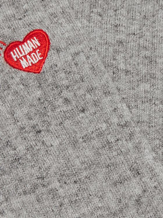 Human Made Logo-Embroidered Ribbed Mélange Cotton-Blend Socks