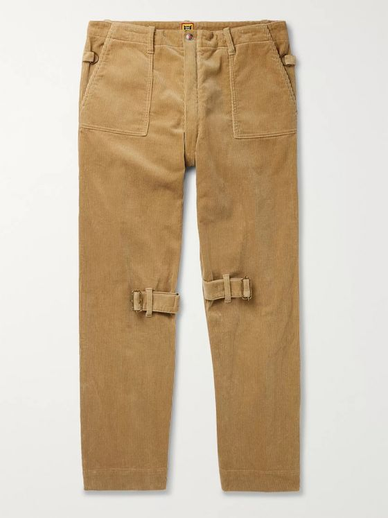 Human Made Buckle and Zip-Detailed Cotton-Corduroy Trousers