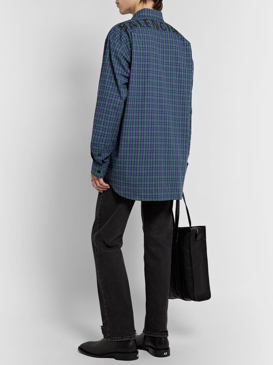 Balenciaga Oversized Button-Down Collar Logo-Print Checked Cotton-Poplin Shirt