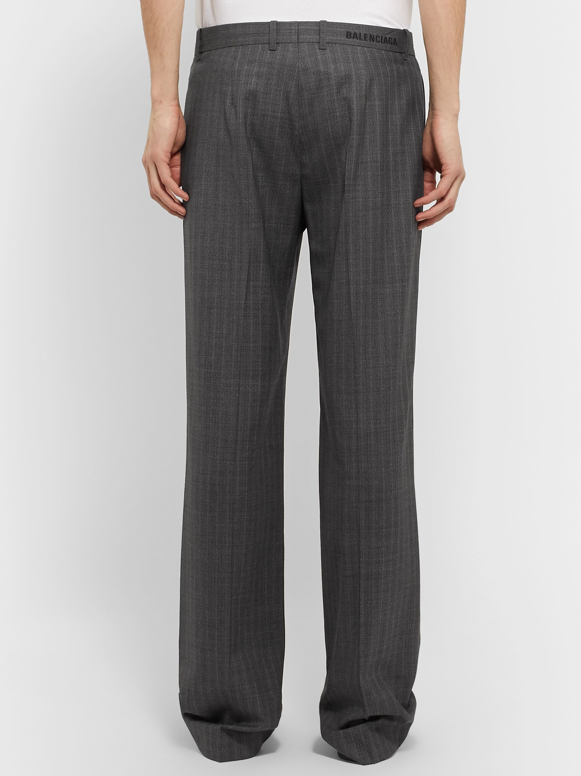 Balenciaga Wide-Leg Striped Virgin Wool Trousers