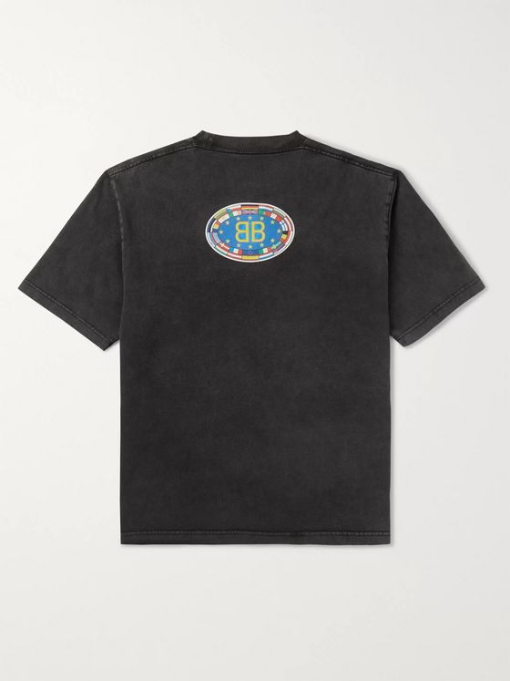Balenciaga Printed Washed Cotton-Jersey T-Shirt