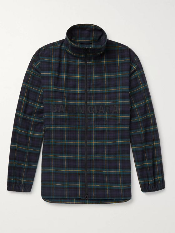Balenciaga Oversized Logo-Embroidered Checked Cotton-Flannel Track Jacket