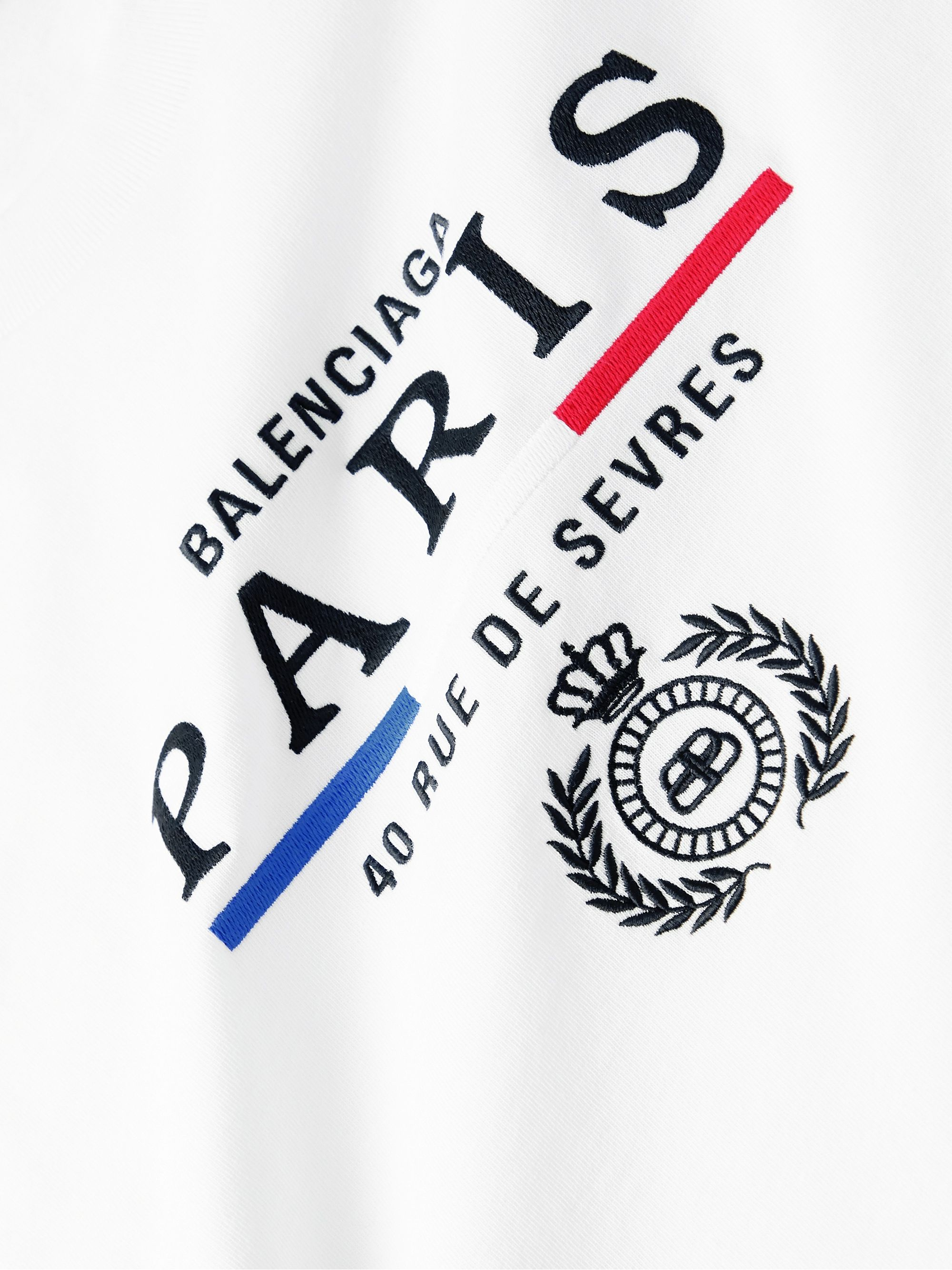 Balenciaga Paris Flag Logo-Embroidered Cotton-Jersey T-Shirt