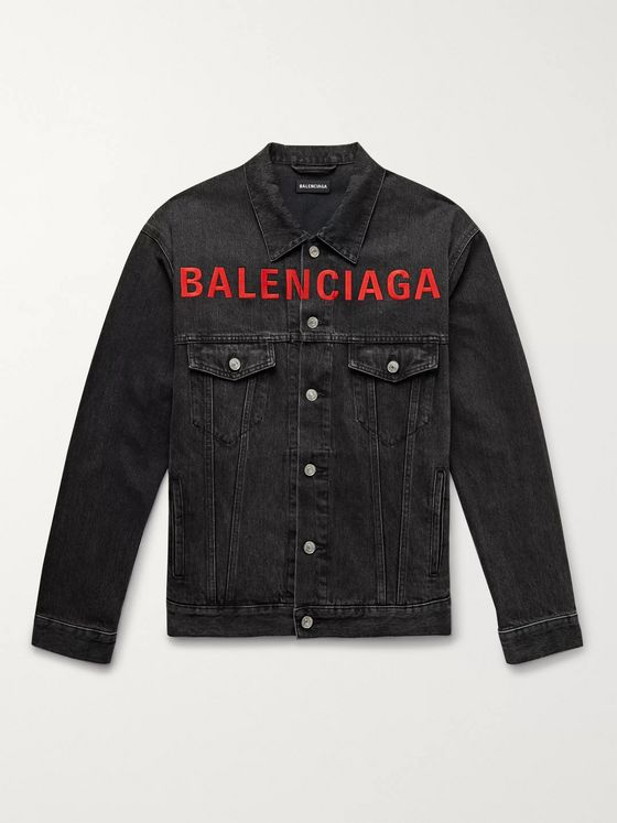 Balenciaga Logo-Embroidered Denim Jacket