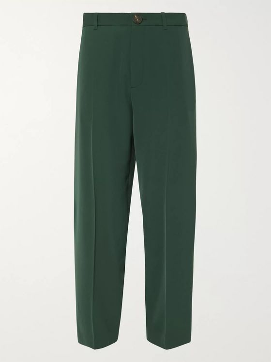 Balenciaga Bottle-Green Wide-Leg Twill Trousers