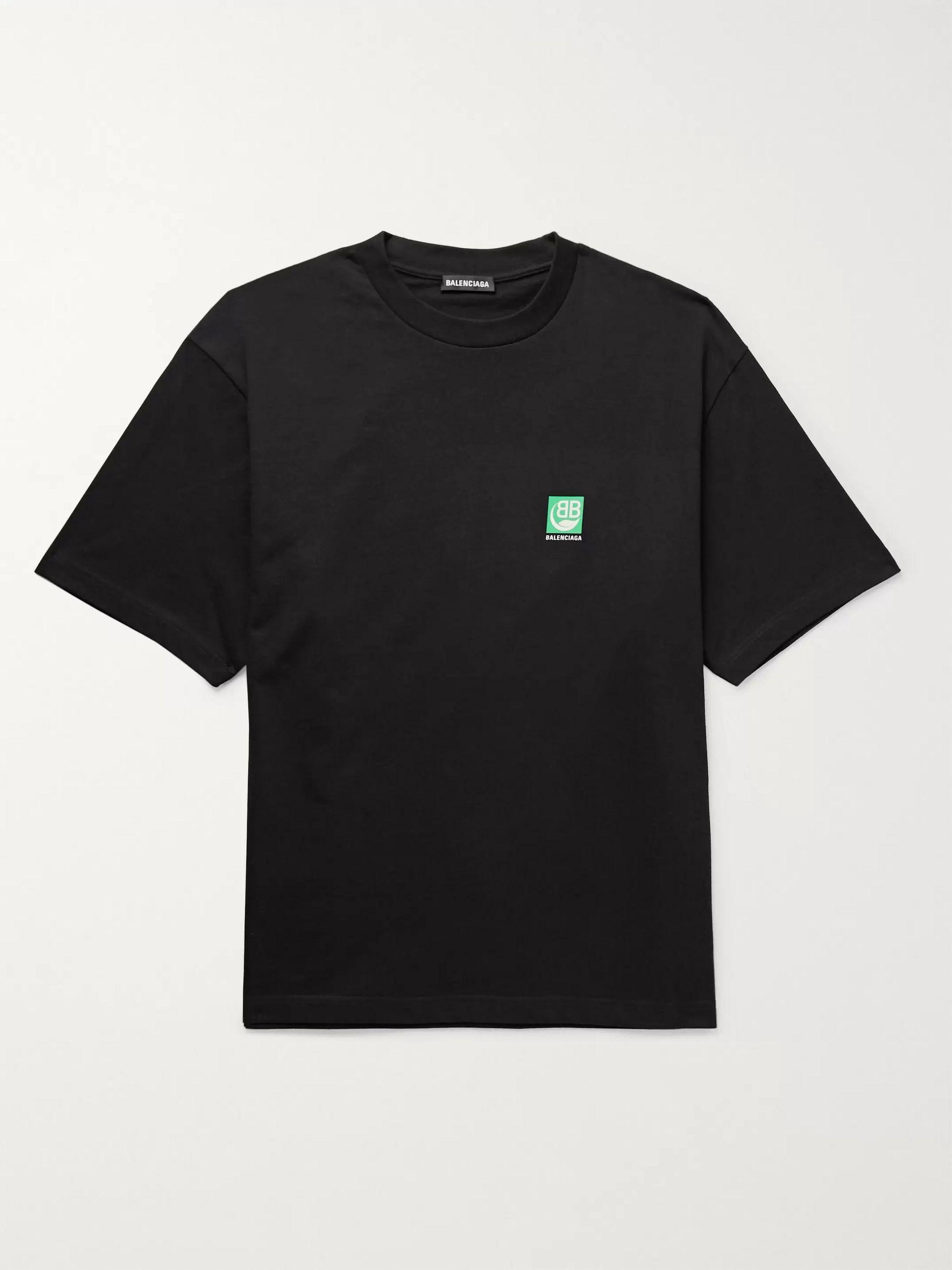 Black Logo-Print Cotton-Jersey T-Shirt