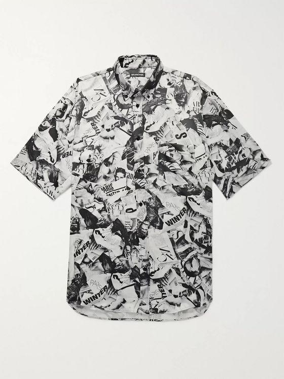 Balenciaga Oversized Button-Down Collar Printed Satin Shirt