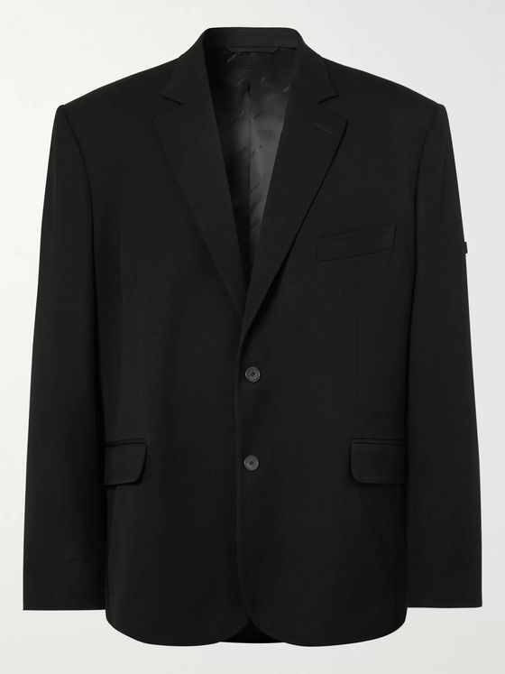 Balenciaga Black Oversized Wool-Blend Blazer