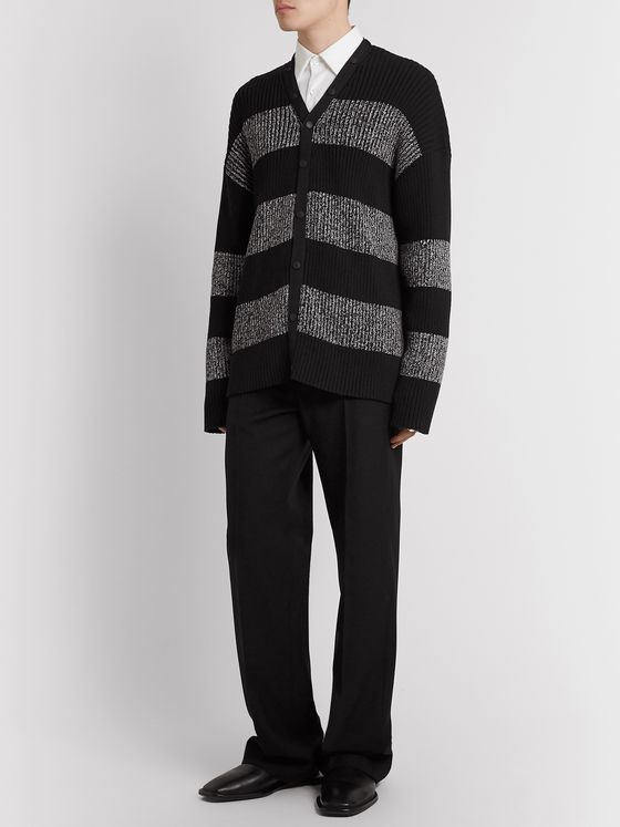 Balenciaga Ribbed Logo-Print Striped Cotton Cardigan