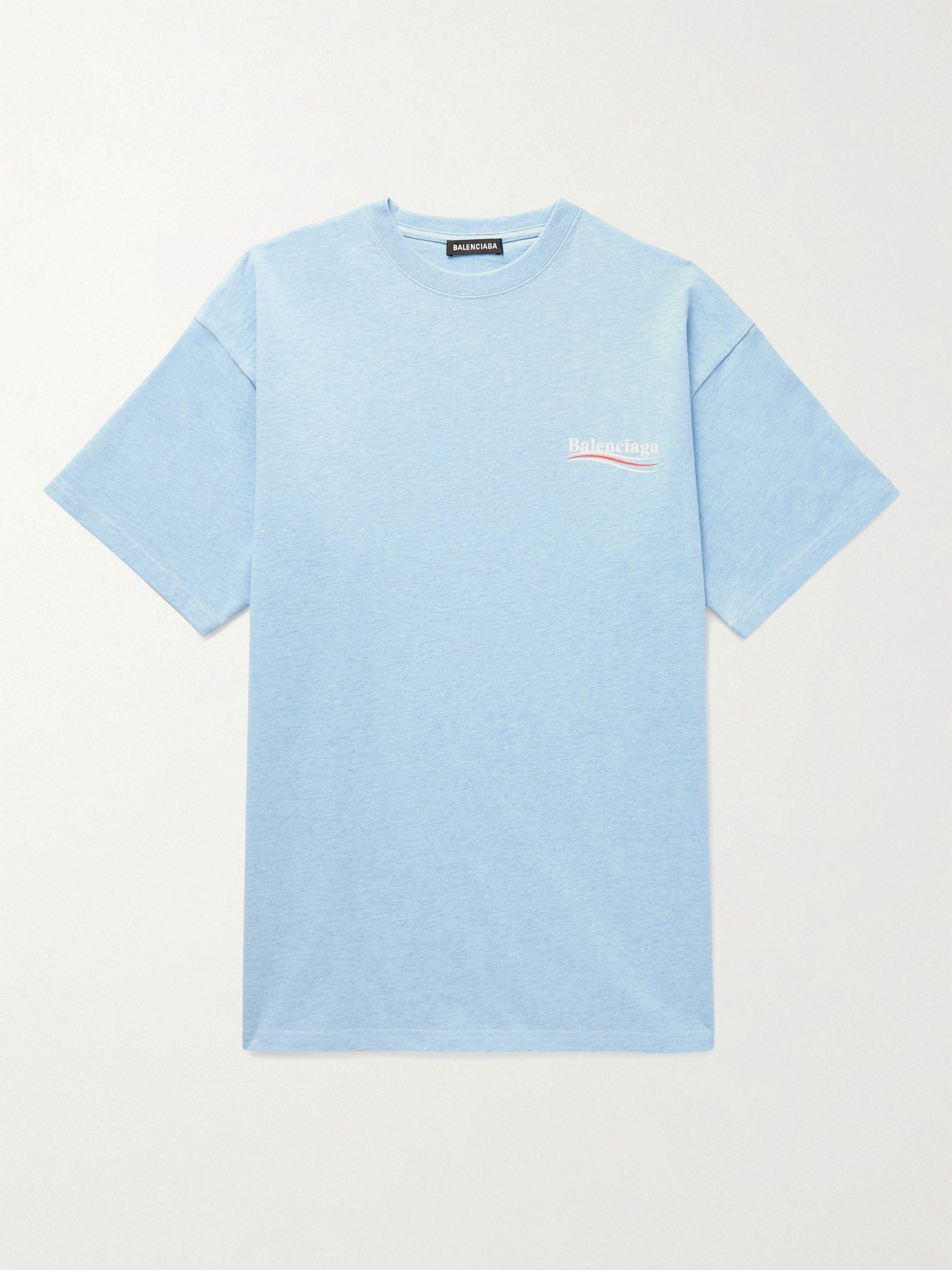 Sky blue Oversized Logo-Print Slub
