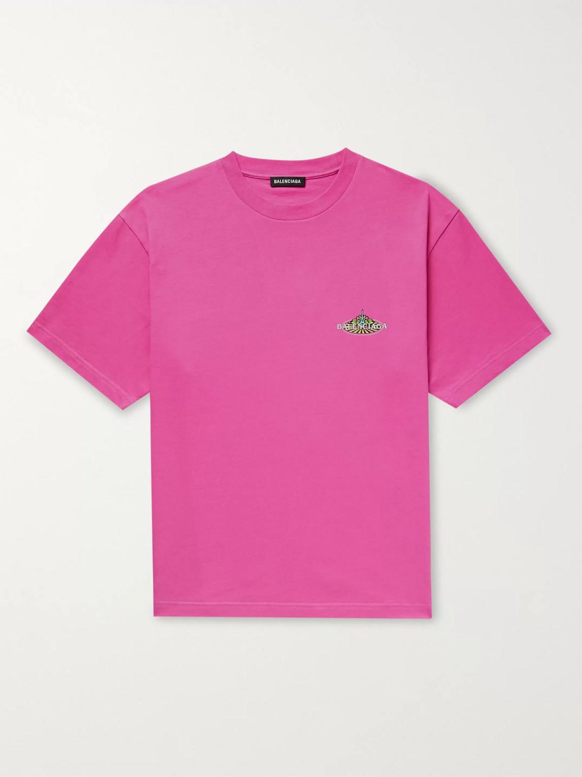 balenciaga - bonjour paris logo-print cotton-jersey t-shirt - men - pink