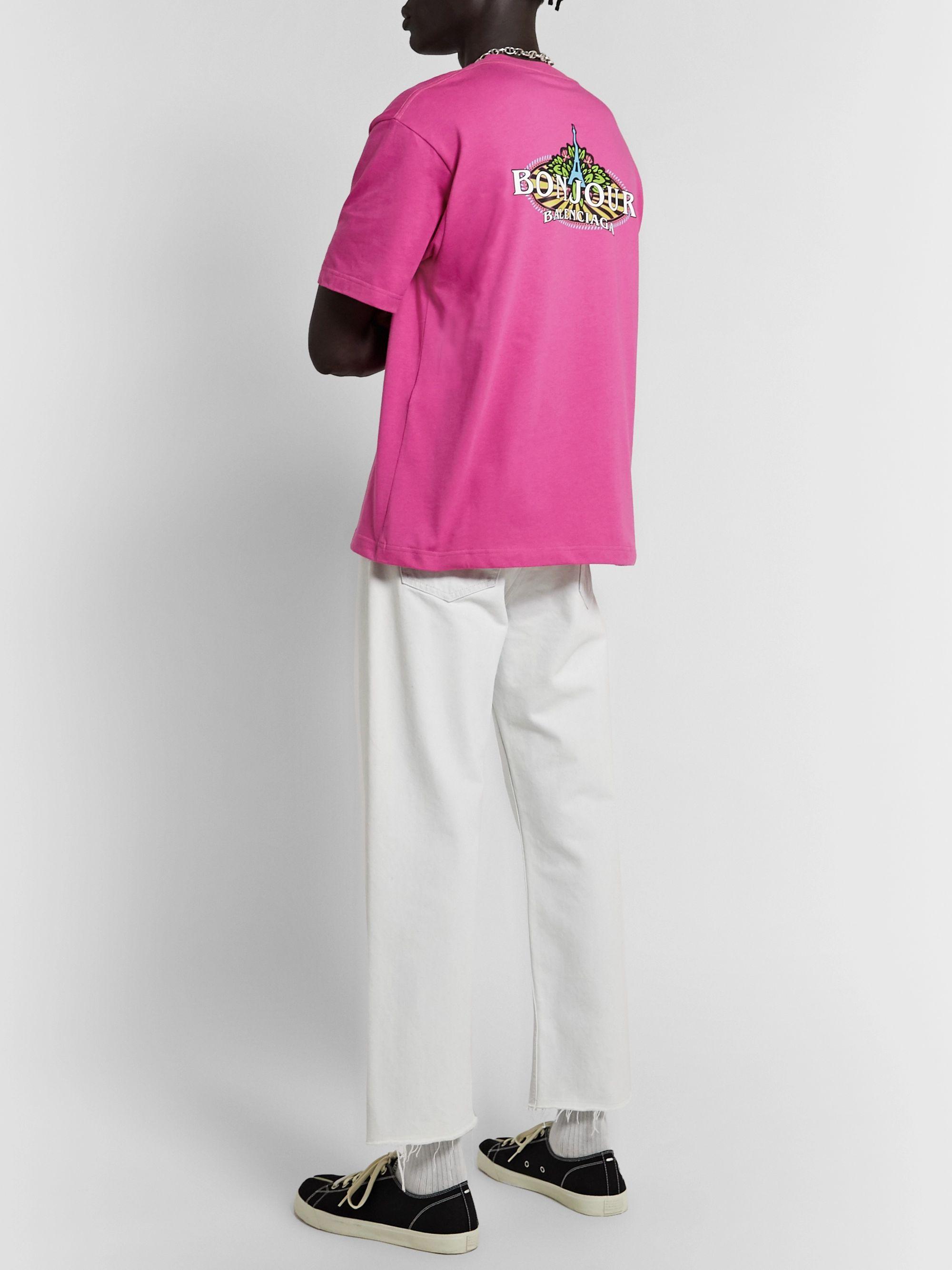 Pink Bonjour Paris Logo-Print Cotton