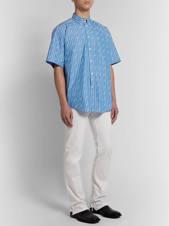 Balenciaga Oversized Button-Down Collar Striped Cotton-Blend Shirt