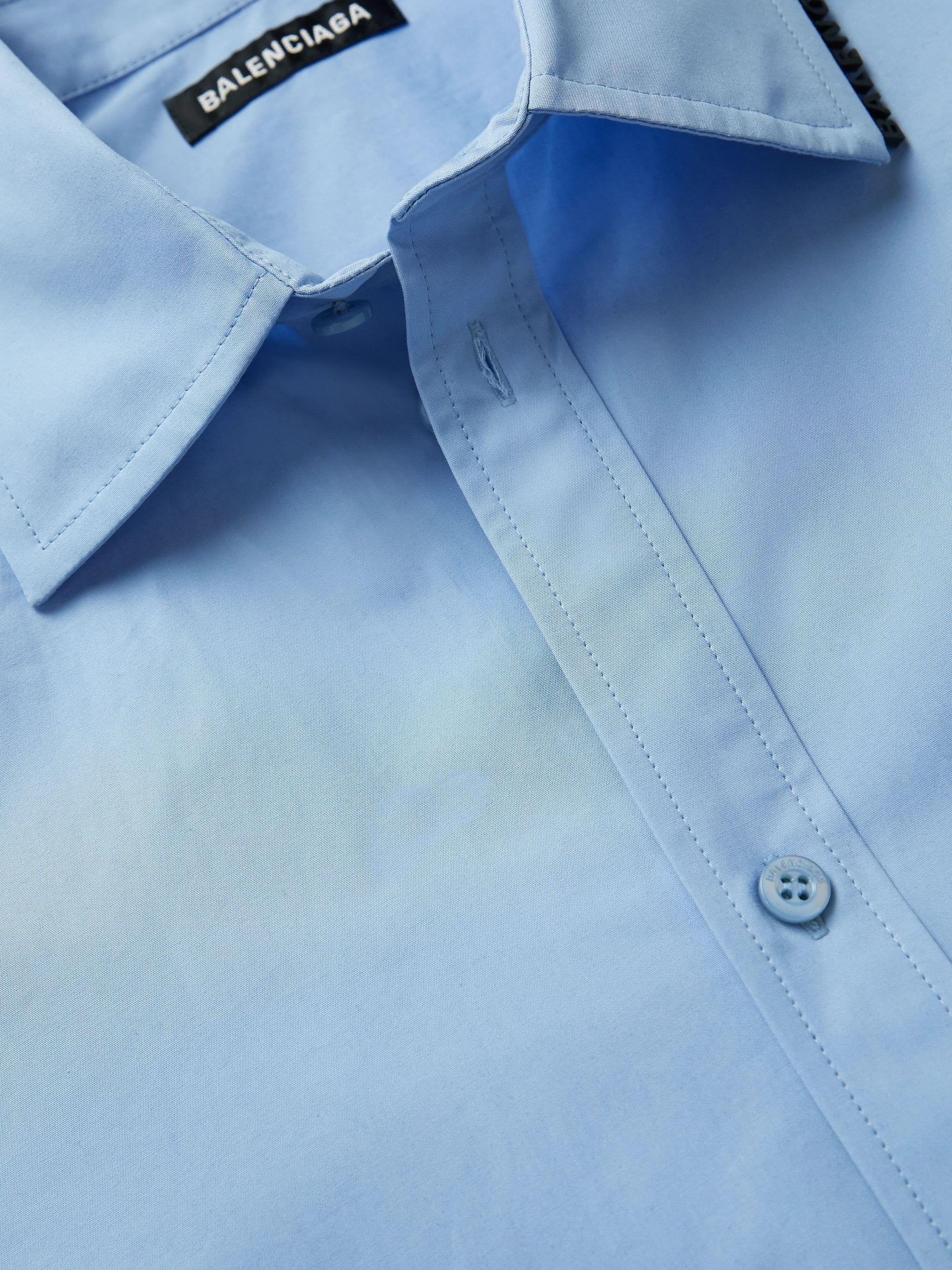 Blue Logo-apppliquéd Cotton-poplin Shirt | Balenciaga