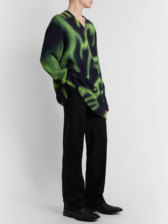 Balenciaga Printed Ribbed Wool-Blend Sweater