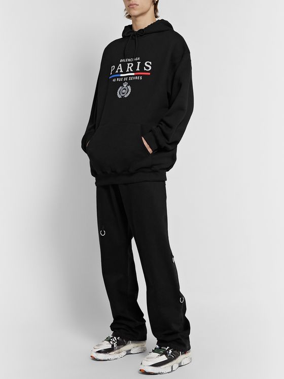 Balenciaga Oversized Embroidered Fleece-Back Cotton-Jersey Hoodie