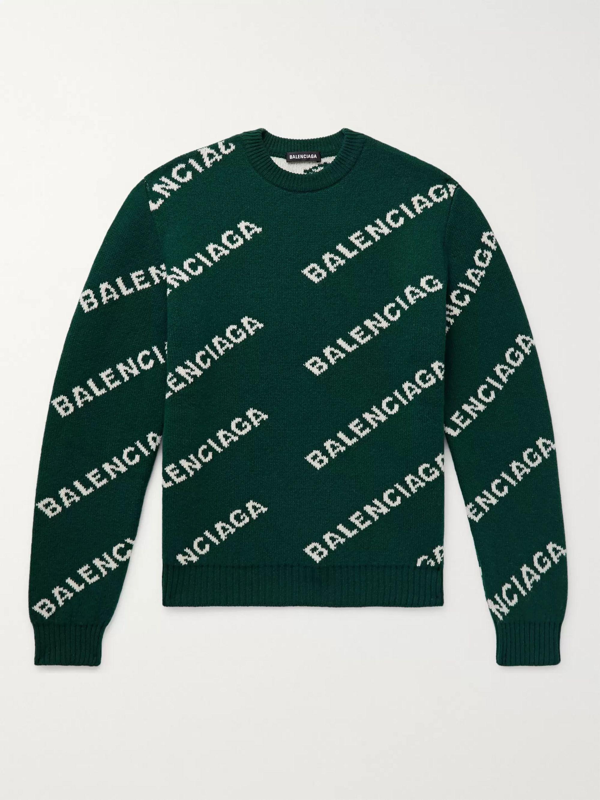Green Logo-Intarsia Wool-Blend Sweater