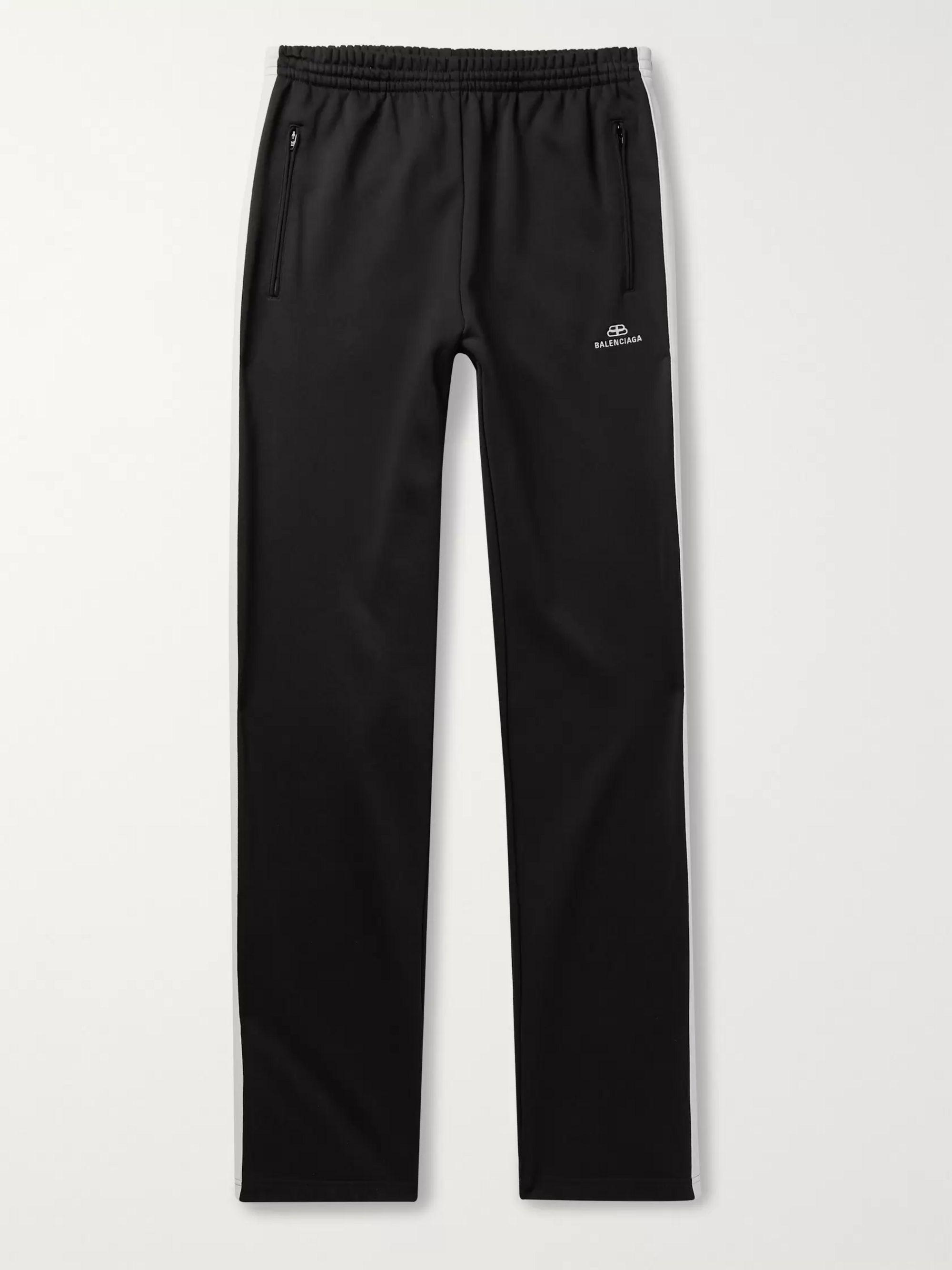 lado Evento condensador  Black Logo-Embroidered Striped Loopback Jersey Track Pants | Balenciaga |  MR PORTER