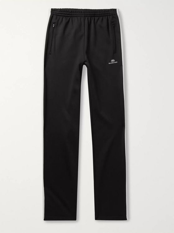 Balenciaga Logo-Embroidered Striped Loopback Jersey Track Pants