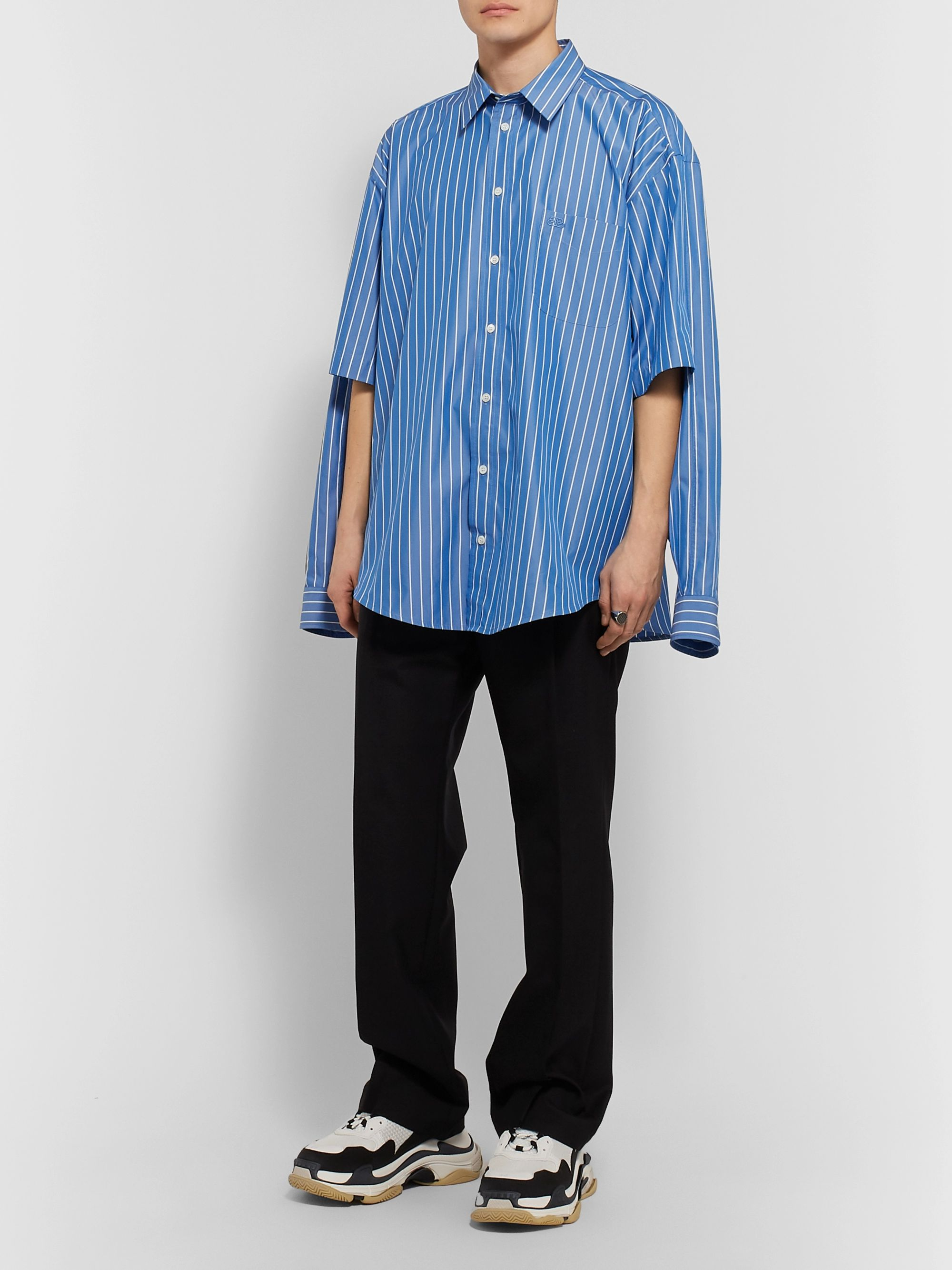 Blue Oversized Logo-embroidered Striped Cotton-blend Poplin Shirt   Balenciaga