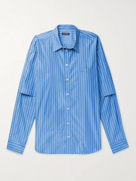 Balenciaga Oversized Logo-Embroidered Striped Cotton-Blend Poplin Shirt