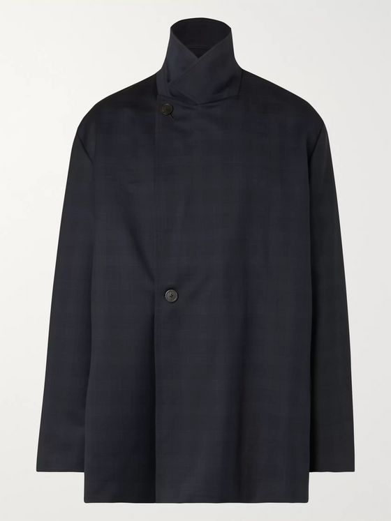 Balenciaga Navy Oversized Prince of Wales Checked Wool Blazer