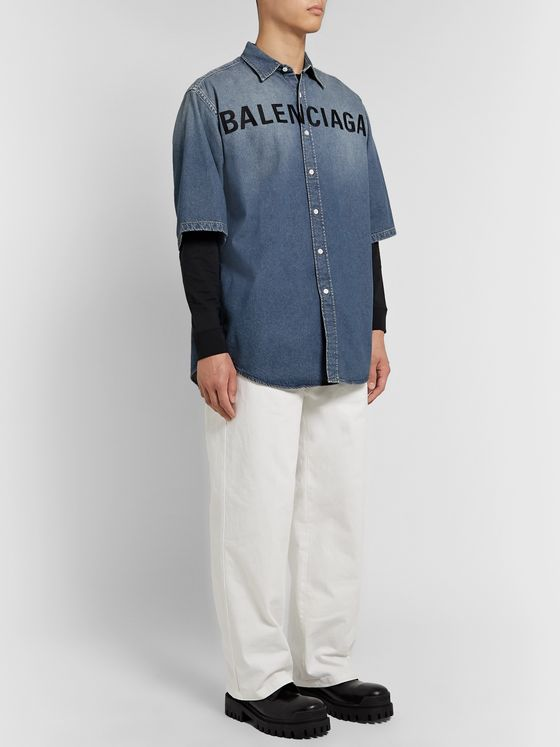 Balenciaga Oversized Logo-Embroidered Denim Shirt