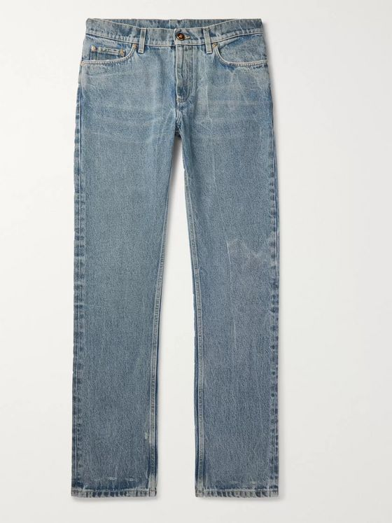 Burberry Leather-Trimmed Distressed Denim Jeans