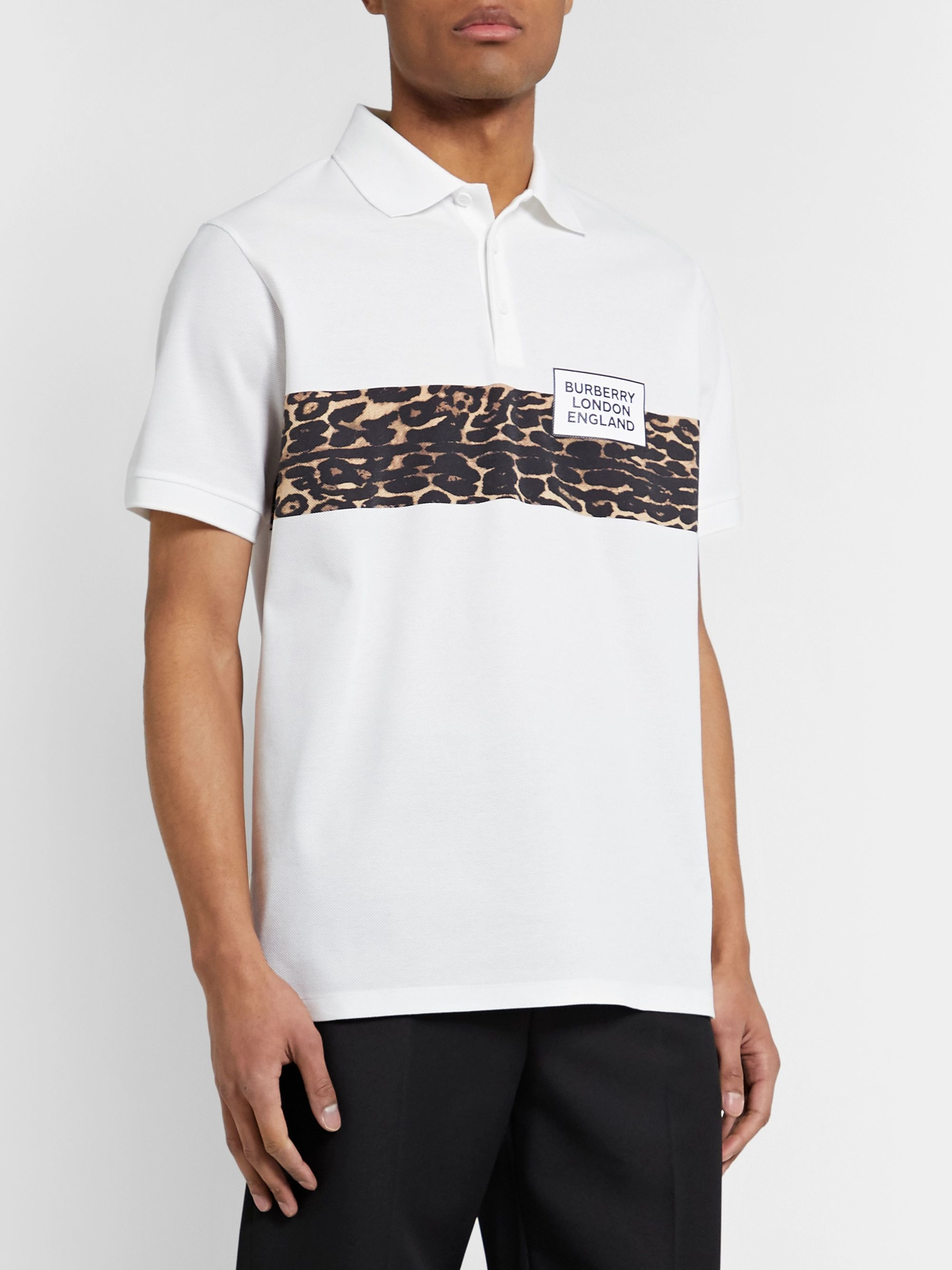 Burberry Leopard-Print Cotton-Piqué Polo Shirt