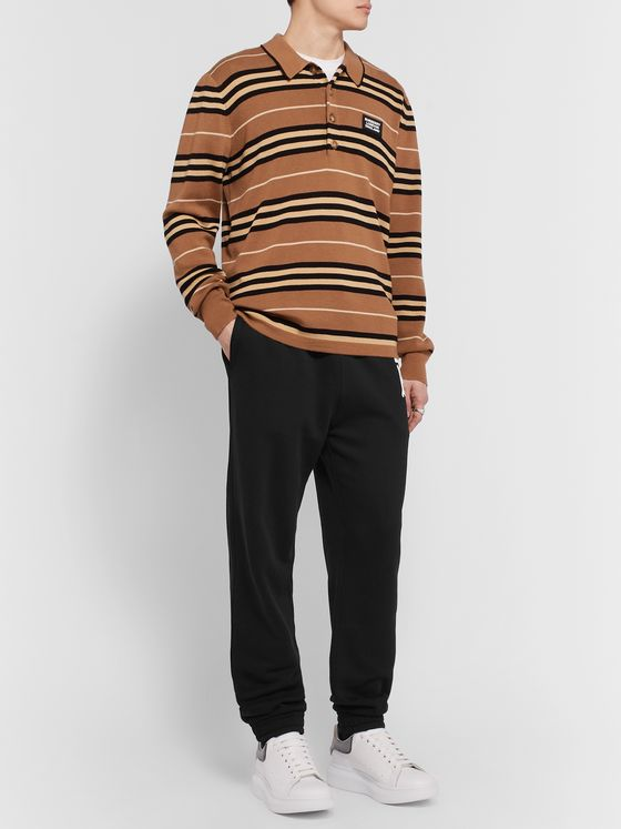 BURBERRY Tapered Logo-Print Loopback Cotton-Jersey Sweatpants