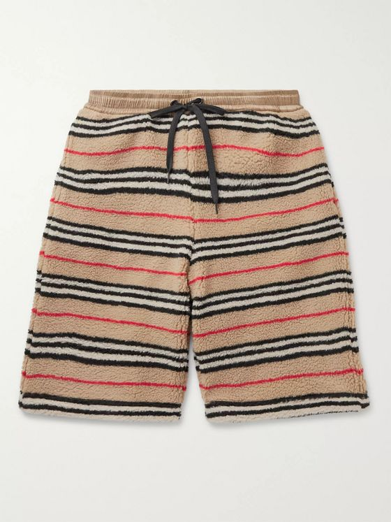 Burberry Shell-Trimmed Striped Fleece Drawstring Shorts