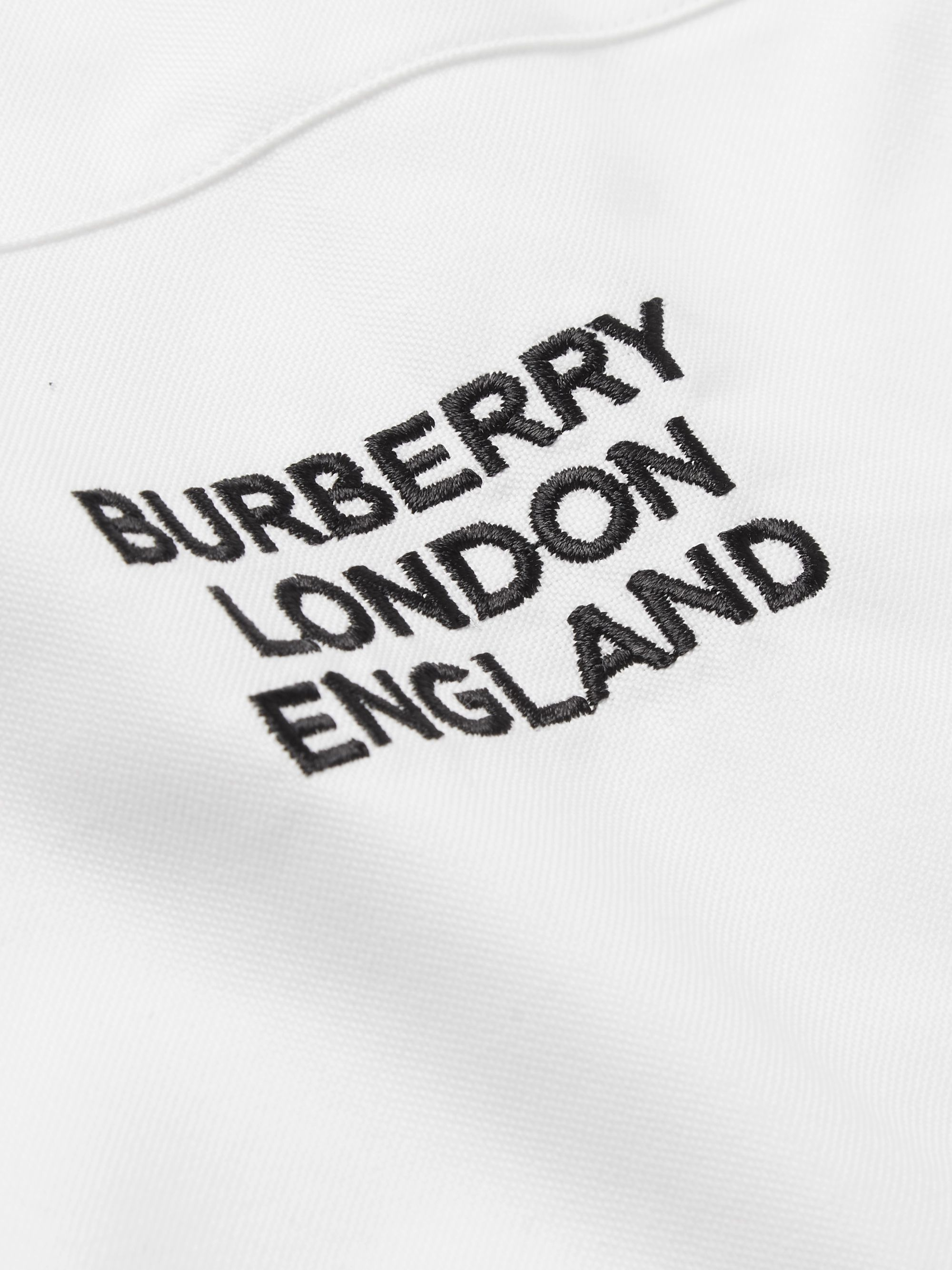 Burberry Slim-Fit Striped Logo-Embroidered Cotton Oxford Shirt