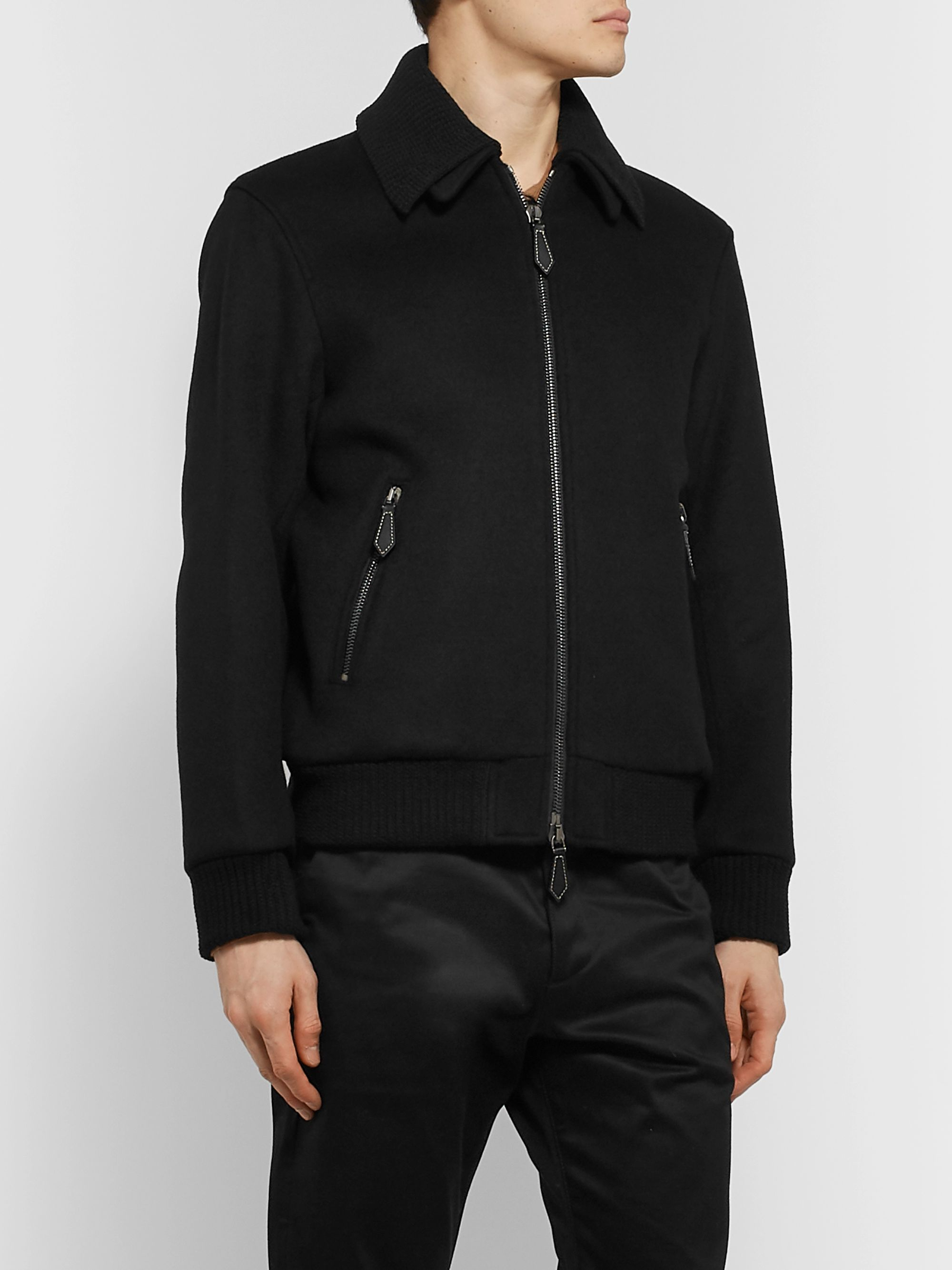 Burberry Virgin Wool and Cashmere-Blend Bomber Jacket