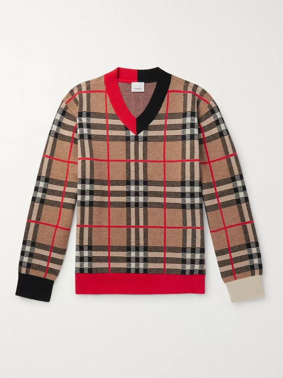 Burberry Checked Merino Wool-Blend Sweater
