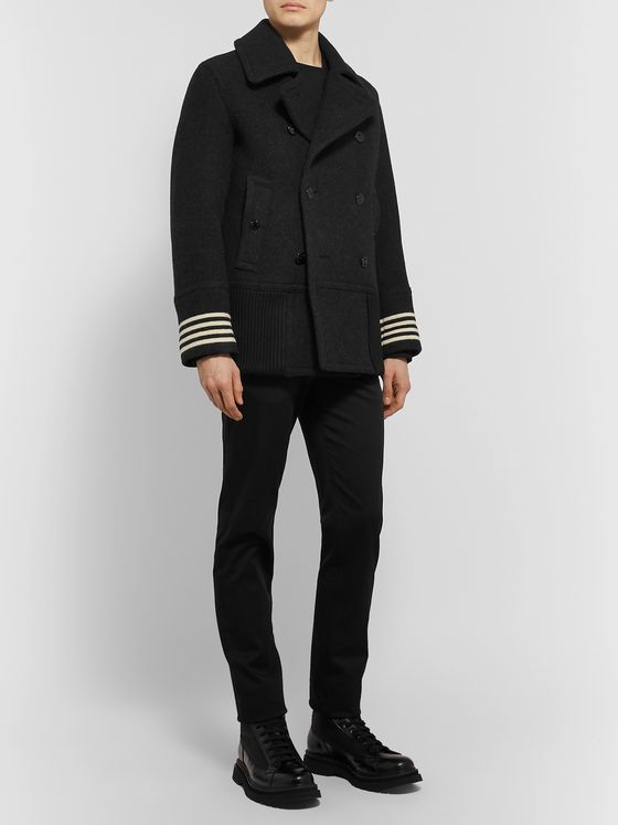 Burberry Striped Wool Peacoat